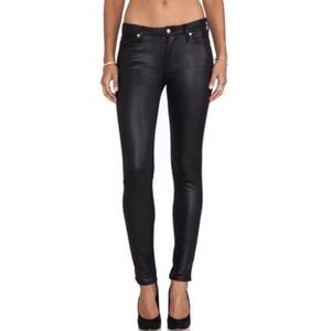 7 For All Mankind Black Soft Leather Look Skinny